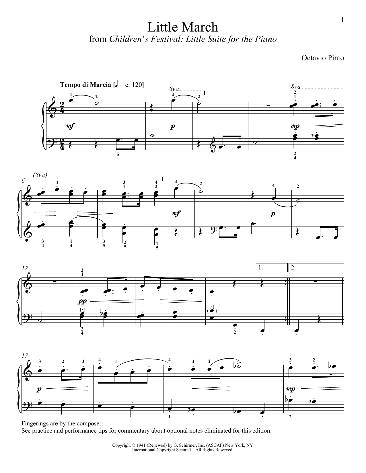 Download Octavio Pinto Little March sheet music and printable PDF score & Classical music notes