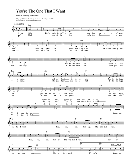 Download Olivia Newton-John and John Travolta You're The One That I Want (from Grease) sheet music and printable PDF score & Pop music notes