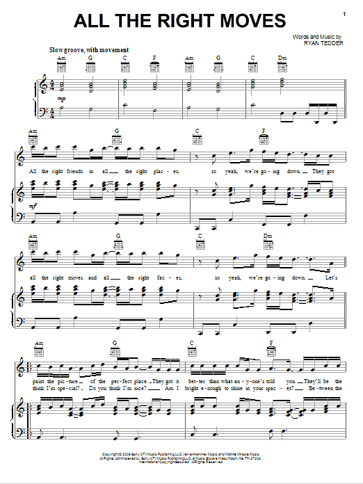 Download OneRepublic All The Right Moves sheet music and printable PDF score & Rock music notes