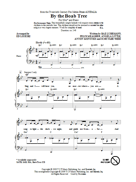 Download Ophelia Of The Spirits By The Boab Tree (arr. Ed Lojeski) sheet music and printable PDF score & Concert music notes