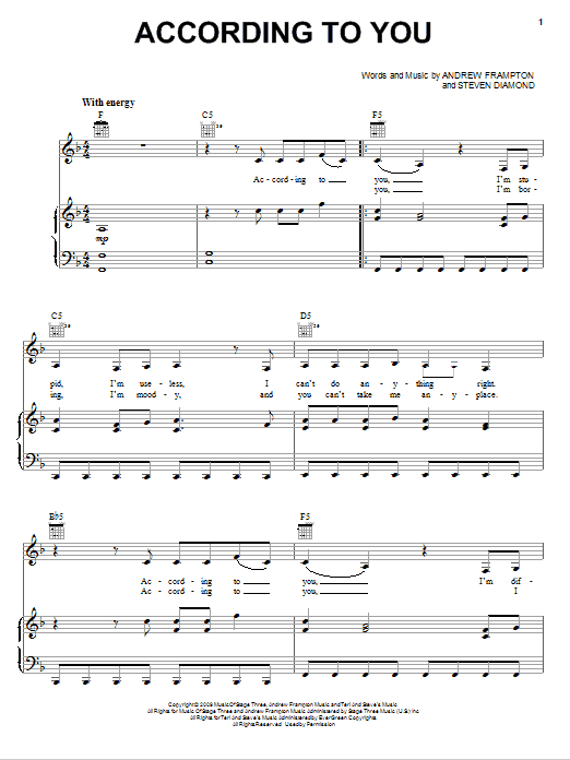 Download Orianthi According To You sheet music and printable PDF score & Rock music notes