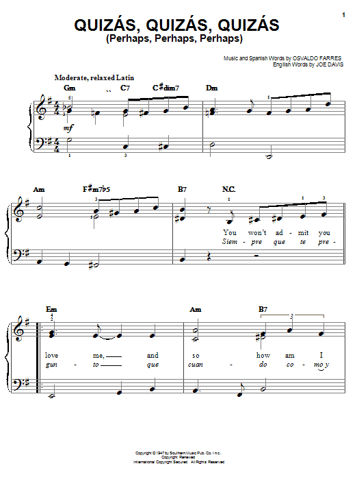 Download Osvaldo Farres Quizas, Quizas, Quizas (Perhaps, Perhaps, Perhaps) sheet music and printable PDF score & World music notes