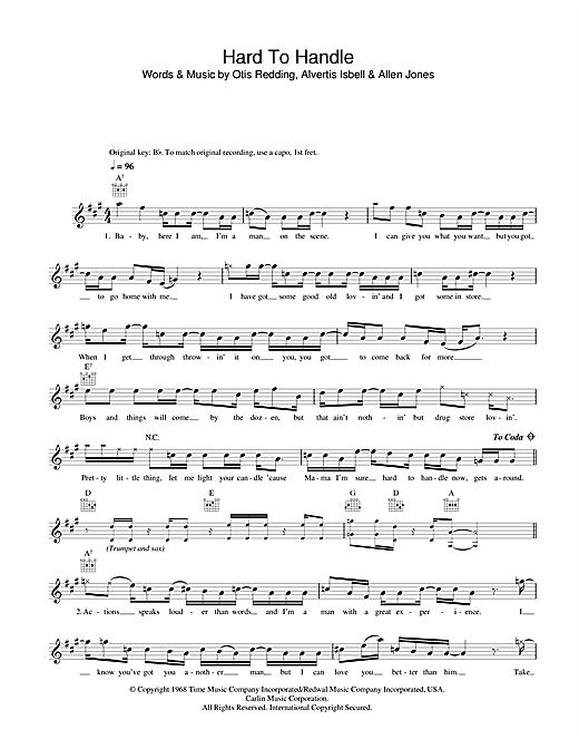 Download Otis Redding Hard To Handle sheet music and printable PDF score & Soul music notes