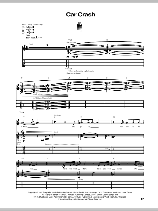 Download Our Lady Peace Car Crash sheet music and printable PDF score & Pop music notes