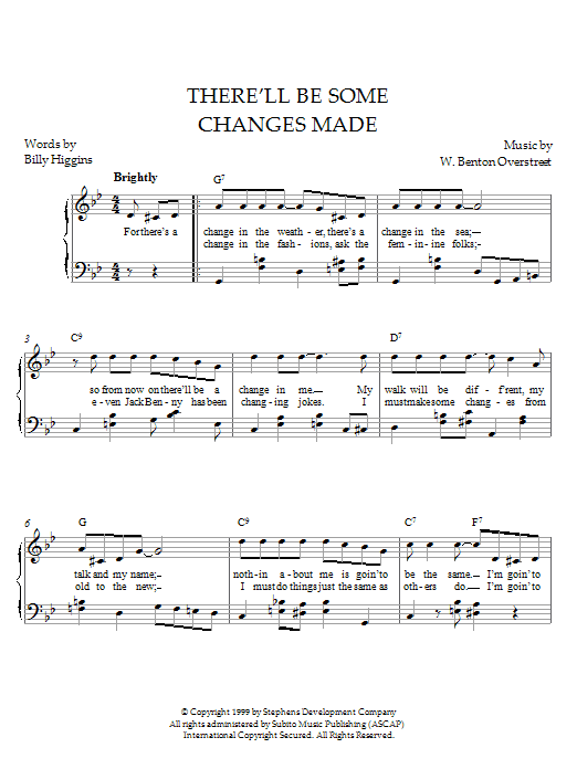 Download W. Benton Overstreet There'll Be Some Changes Made sheet music and printable PDF score & Pop music notes
