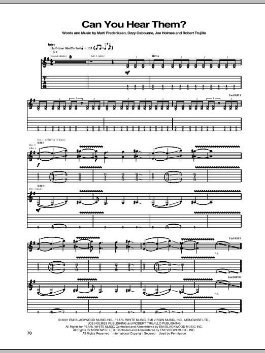 Download Ozzy Osbourne Can You Hear Them? sheet music and printable PDF score & Pop music notes