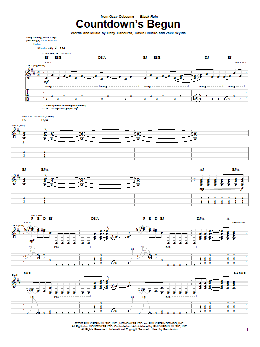 Download Ozzy Osbourne Countdown's Begun sheet music and printable PDF score & Pop music notes