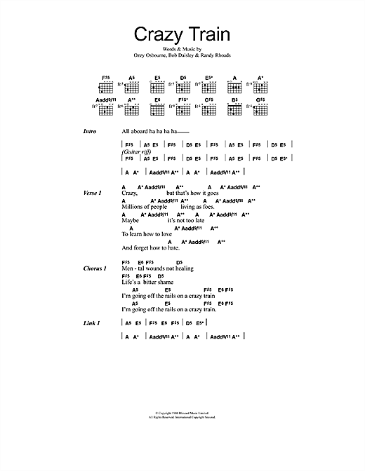 Download Ozzy Osbourne Crazy Train sheet music and printable PDF score & Rock music notes