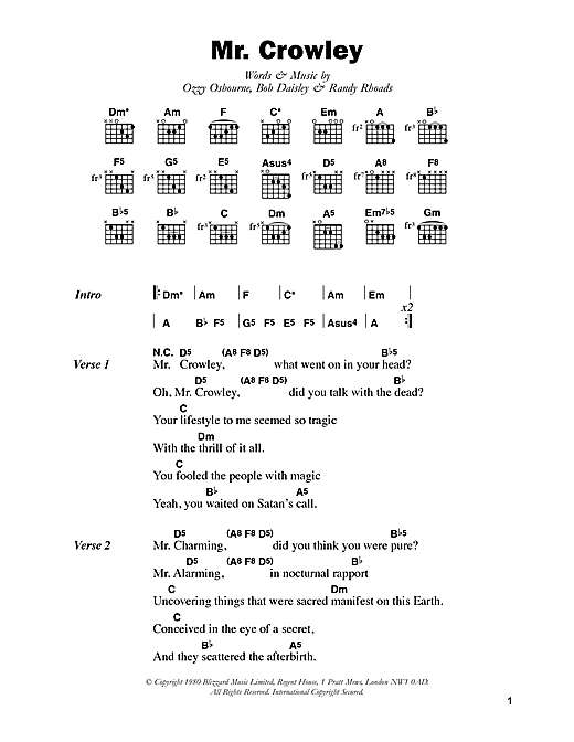 Download Ozzy Osbourne Mr. Crowley sheet music and printable PDF score & Pop music notes