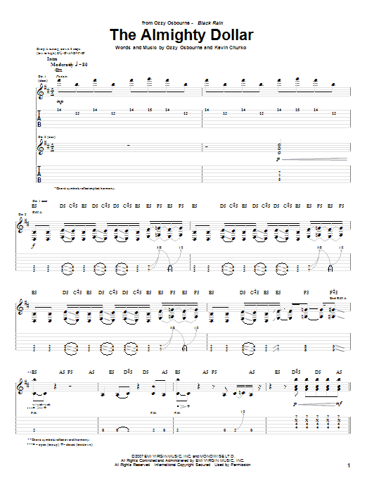 Download Ozzy Osbourne The Almighty Dollar sheet music and printable PDF score & Pop music notes