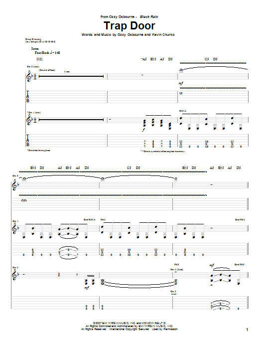 Download Ozzy Osbourne Trap Door sheet music and printable PDF score & Pop music notes