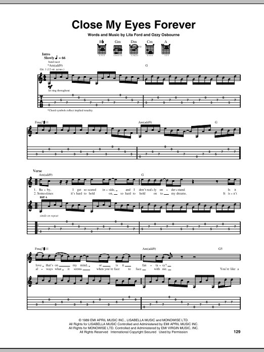 Download Ozzy Osbourne with Lita Ford Close My Eyes Forever sheet music and printable PDF score & Pop music notes