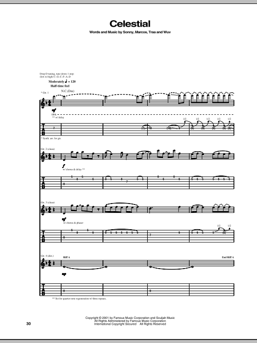 Download P.O.D. (Payable On Death) Celestial sheet music and printable PDF score & Metal music notes