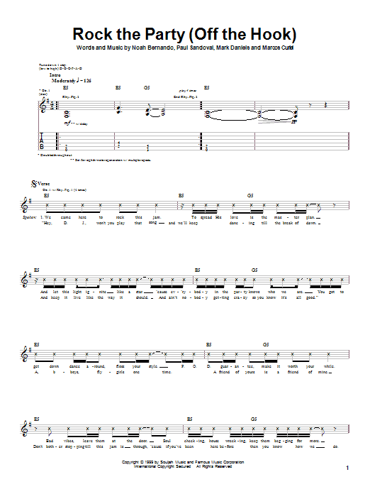 Download P.O.D. (Payable On Death) Rock The Party (Off The Hook) sheet music and printable PDF score & Metal music notes