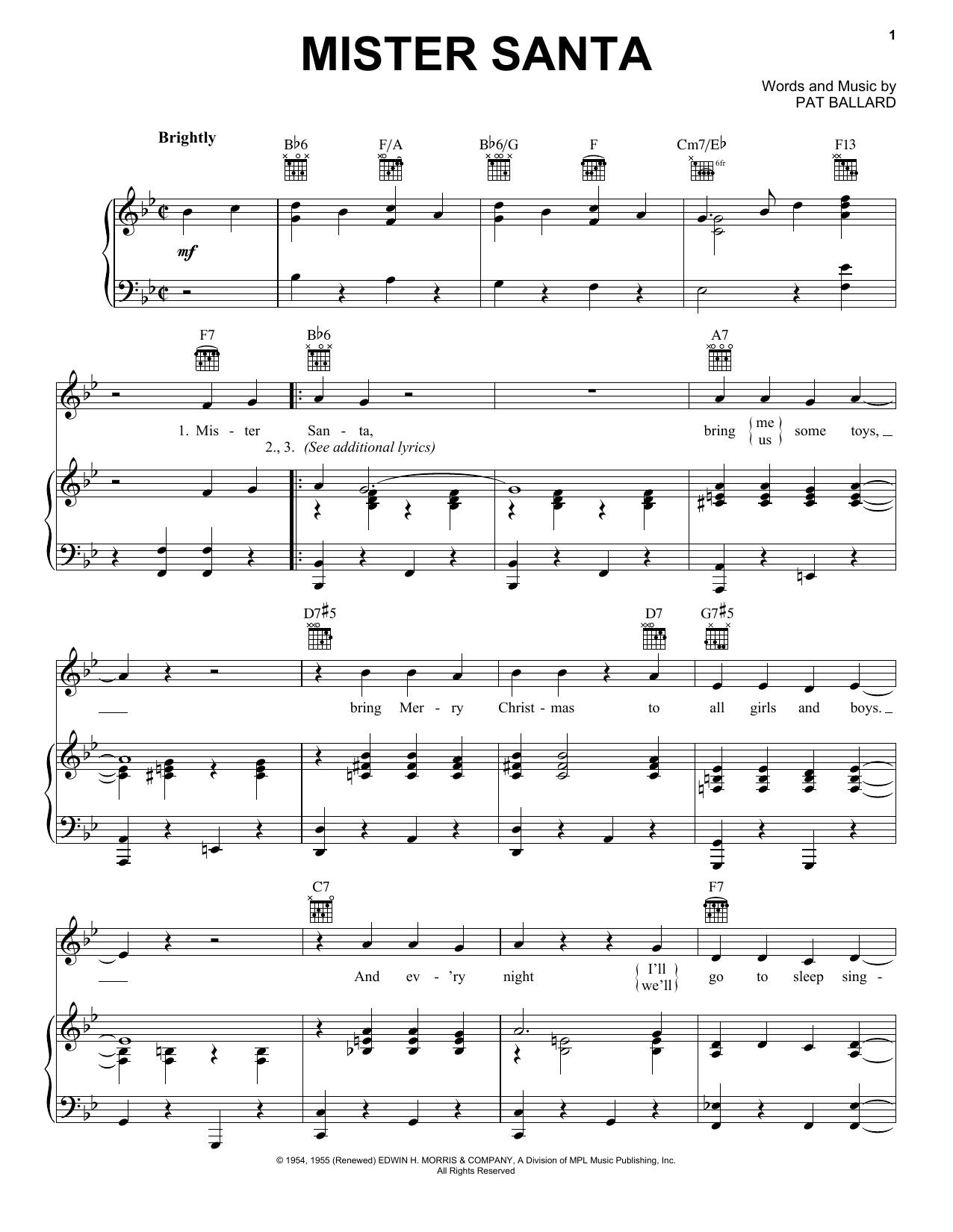 Download Pat Ballard Mister Santa sheet music and printable PDF score & Classics music notes