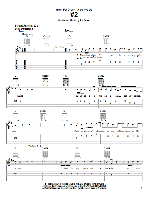 Download Pat Green #2 sheet music and printable PDF score & Country music notes