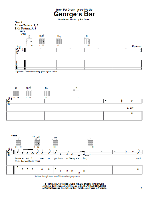 Download Pat Green George's Bar sheet music and printable PDF score & Country music notes
