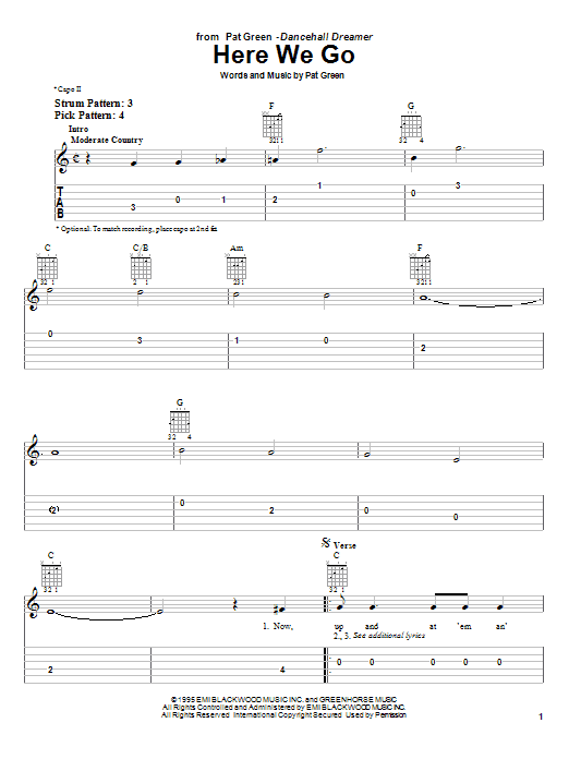 Download Pat Green Here We Go sheet music and printable PDF score & Country music notes
