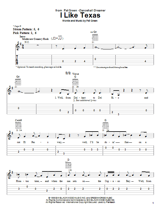 Download Pat Green I Like Texas sheet music and printable PDF score & Country music notes