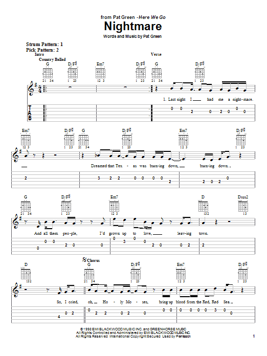 Download Pat Green Nightmare sheet music and printable PDF score & Country music notes