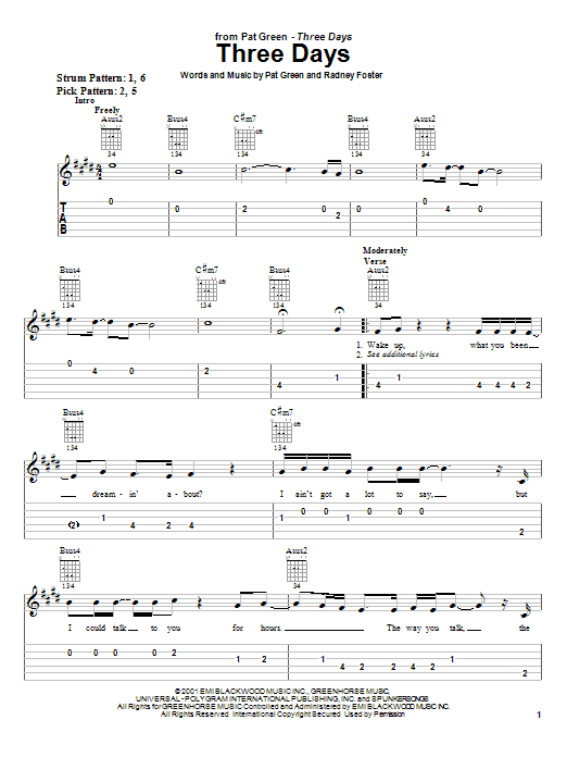 Download Pat Green Three Days sheet music and printable PDF score & Country music notes