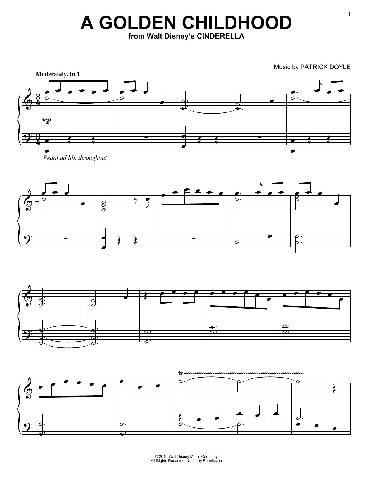 Download Patrick Doyle A Golden Childhood sheet music and printable PDF score & Children music notes