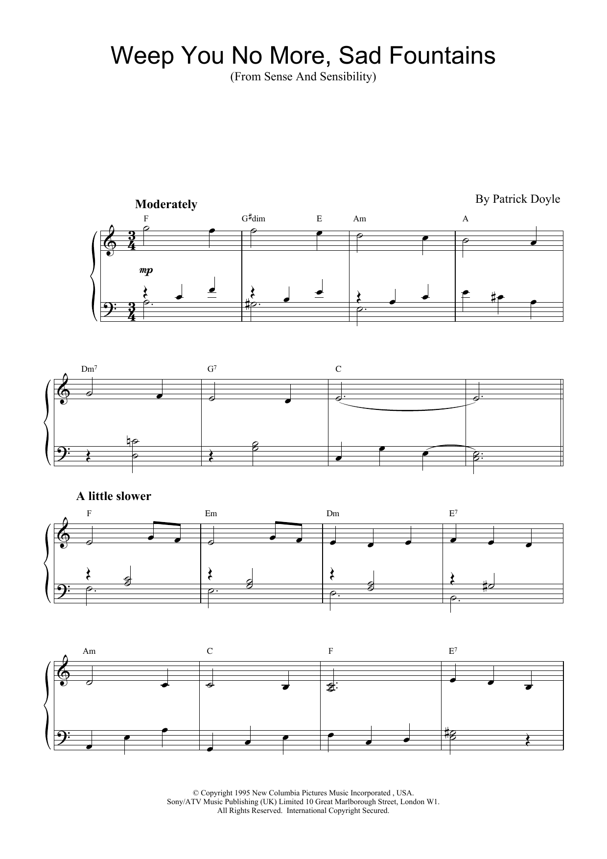 Download Patrick Doyle Weep You No More, Sad Fountains (from Sense And Sensibility) sheet music and printable PDF score & Film and TV music notes
