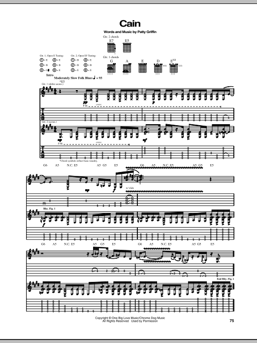 Download Patty Griffin Cain sheet music and printable PDF score & Pop music notes