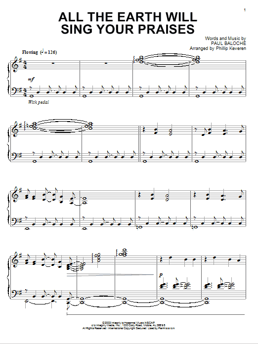 Download Paul Baloche All The Earth Will Sing Your Praises [Jazz version] (arr. Phillip Keveren) sheet music and printable PDF score & Pop music notes