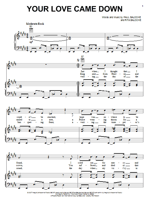 Download Paul Baloche Your Love Came Down sheet music and printable PDF score & Pop music notes