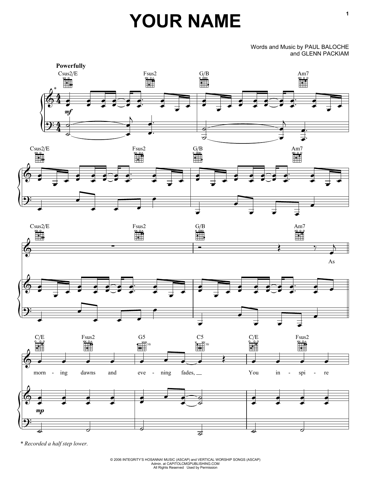 Download Paul Baloche Your Name sheet music and printable PDF score & Pop music notes