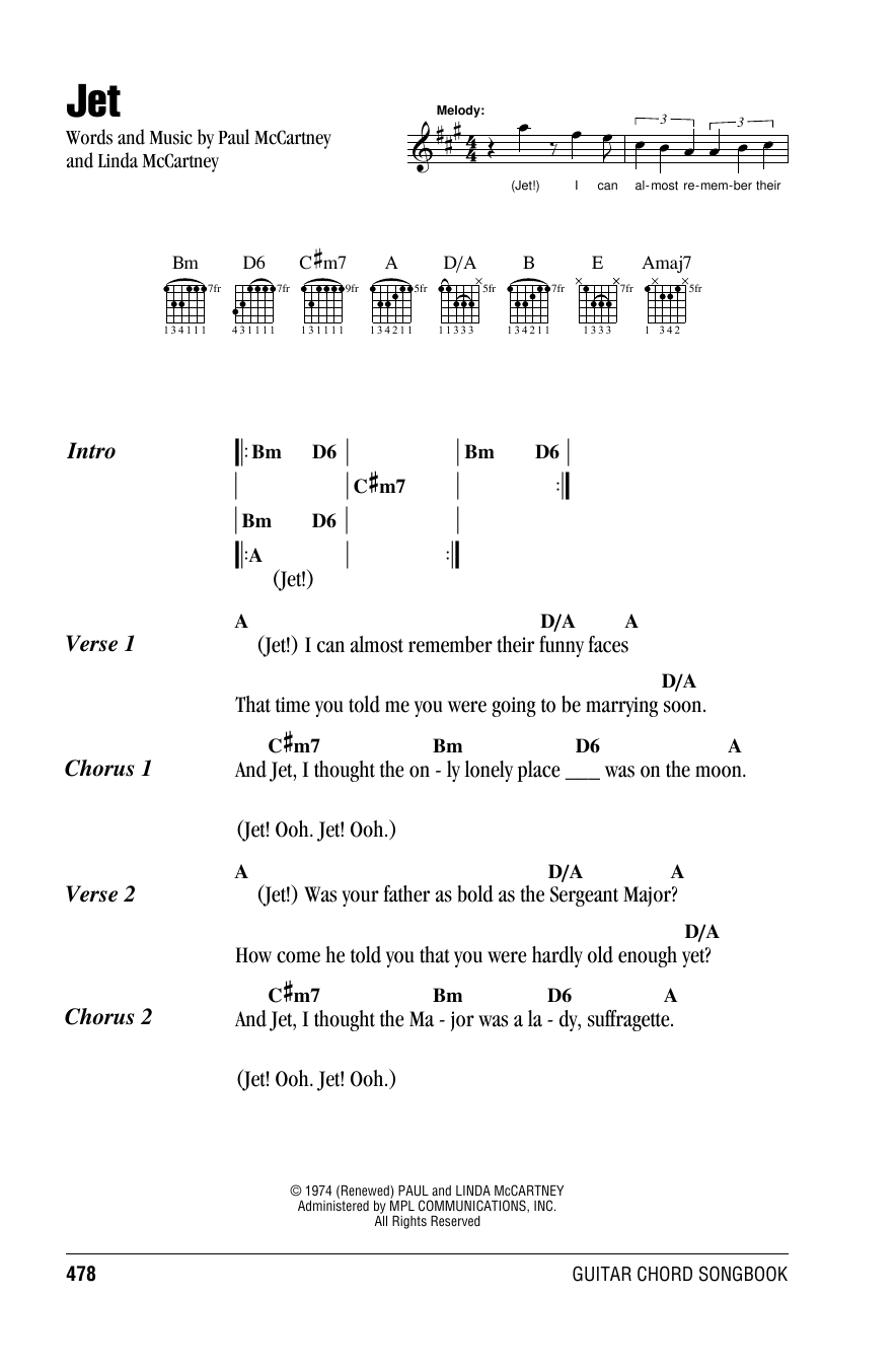 Download Paul McCartney & Wings Jet sheet music and printable PDF score & Rock music notes