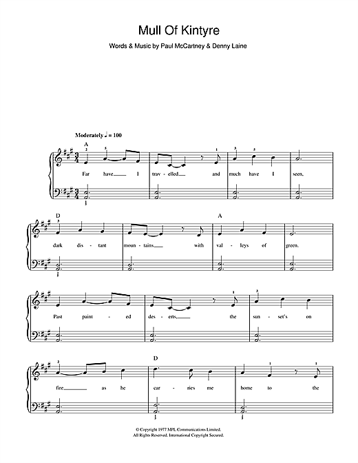 Download Paul McCartney & Wings Mull Of Kintyre sheet music and printable PDF score & Pop music notes
