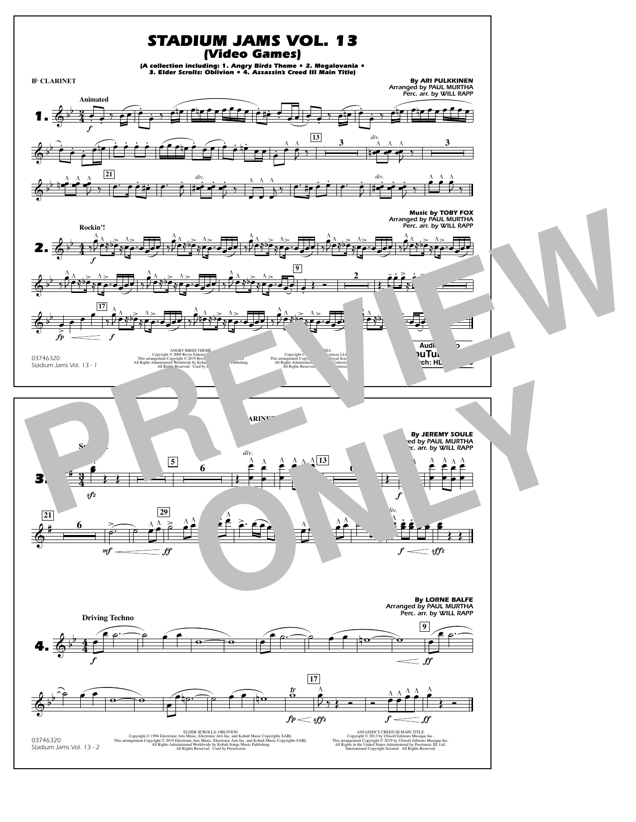 Paul Murtha & Will Rapp 'Stadium Jams Volume 13 (Video Games) - Bb  Clarinet' Sheet Music Notes, Chords | Download Printable Marching Band -  SKU: