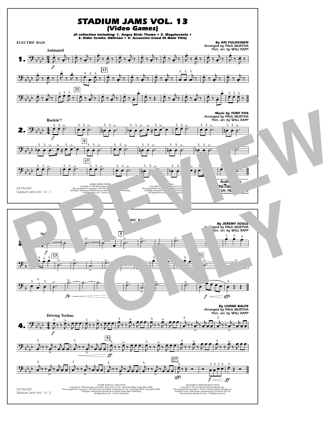 Paul Murtha & Will Rapp 'Stadium Jams Volume 13 (Video Games) - Electric  Bass' Sheet Music Notes, Chords | Download Printable Marching Band - SKU:
