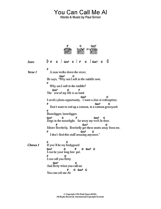 Download Paul Simon You Can Call Me Al sheet music and printable PDF score & Pop music notes