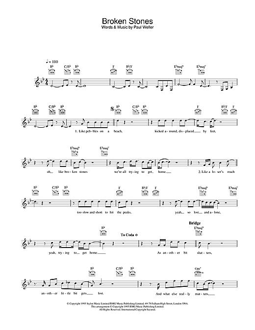 Download Paul Weller Broken Stones sheet music and printable PDF score & Rock music notes