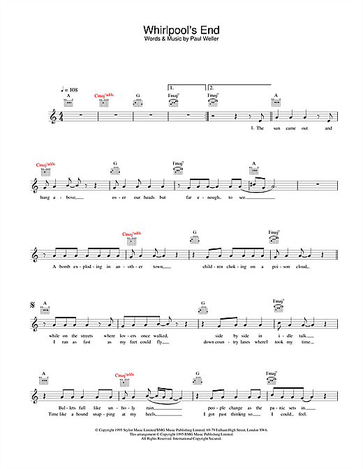 Download Paul Weller Whirlpool's End sheet music and printable PDF score & Rock music notes