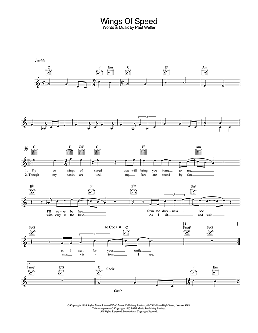 Download Paul Weller Wings Of Speed sheet music and printable PDF score & Rock music notes