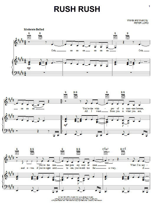 Download Paula Abdul Rush Rush sheet music and printable PDF score & Pop music notes