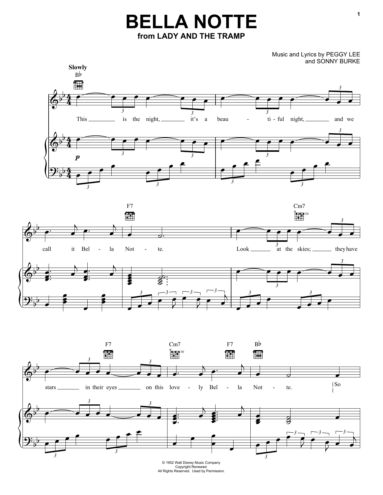 Download Peggy Lee Bella Notte (This Is The Night) (from Lady And The Tramp) sheet music and printable PDF score & Film and TV music notes