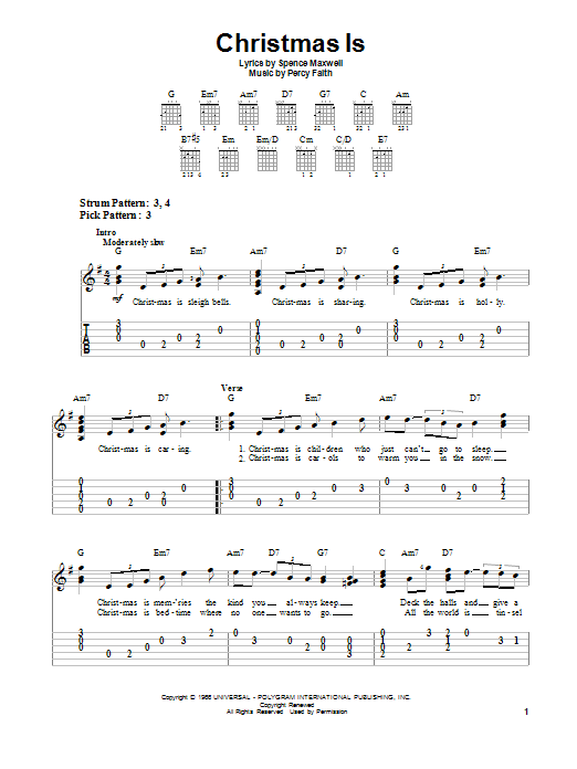 Download Percy Faith Christmas Is sheet music and printable PDF score & Christmas music notes