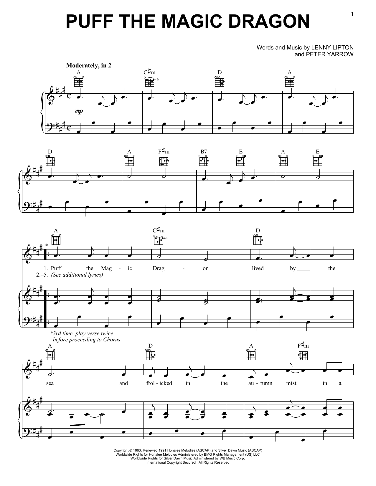 Download Peter, Paul & Mary Puff The Magic Dragon sheet music and printable PDF score & Pop music notes