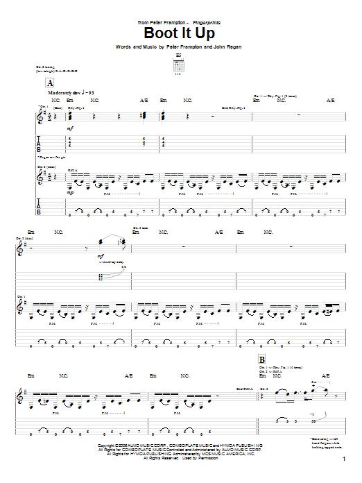 Download Peter Frampton Boot It Up sheet music and printable PDF score & Rock music notes