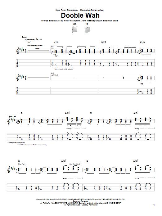 Download Peter Frampton Doobie Wah sheet music and printable PDF score & Rock music notes