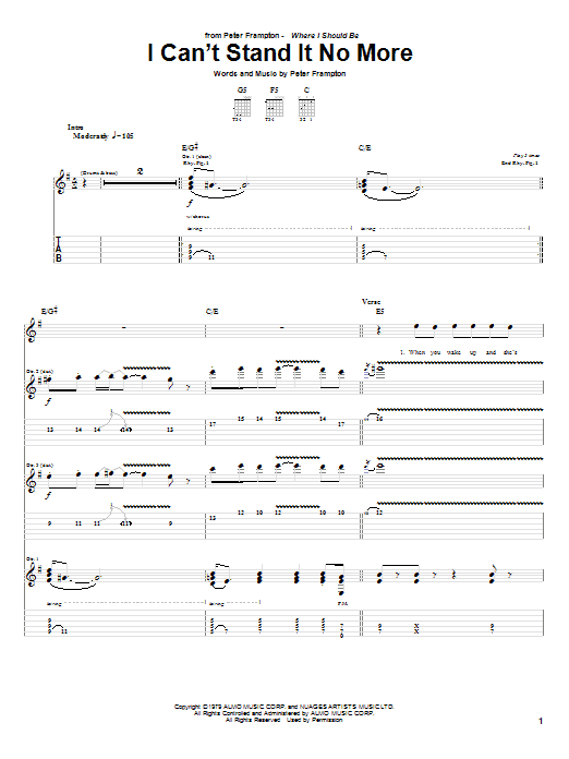Download Peter Frampton I Can't Stand It No More sheet music and printable PDF score & Rock music notes