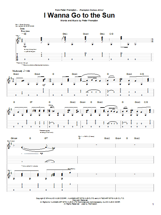 Download Peter Frampton I Wanna Go To The Sun sheet music and printable PDF score & Rock music notes