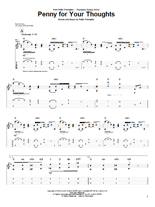 Download Peter Frampton Penny For Your Thoughts sheet music and printable PDF score & Rock music notes