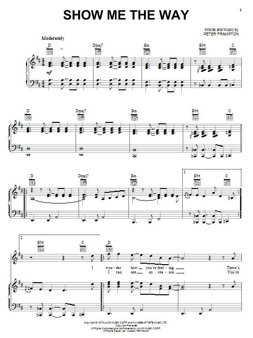 Download Peter Frampton Show Me The Way sheet music and printable PDF score & Rock music notes