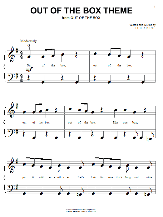 Download Peter Lurye Out Of The Box Theme sheet music and printable PDF score & Children music notes